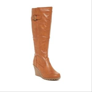 Tan Wedge Riding Boots